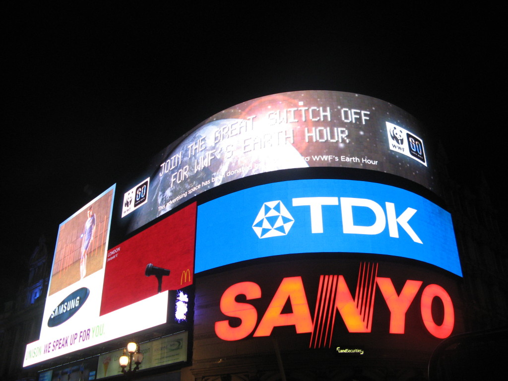 Kinda Ironic...Earth Hour 2011, Piccadilly Circus, London.